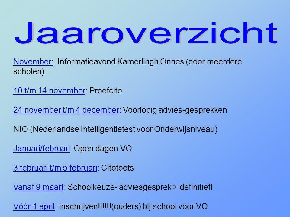 Jaaroverzicht November: Informatieavond Kamerlingh Onnes (door meerdere scholen) 10 t/m 14 november: Proefcito.