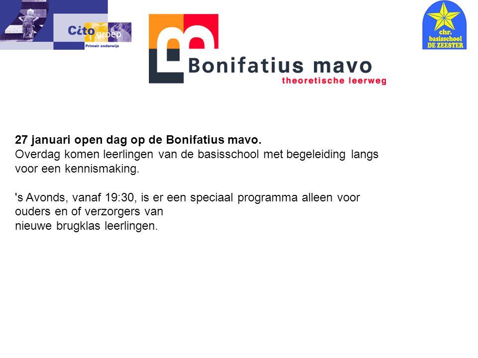 27 januari open dag op de Bonifatius mavo.