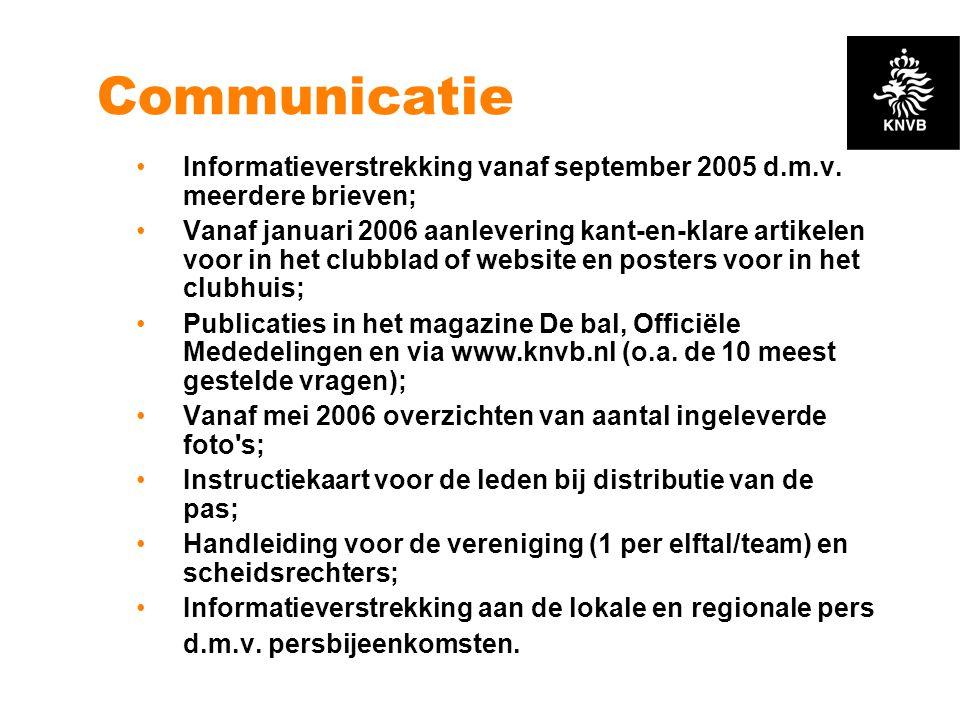 Communicatie Informatieverstrekking vanaf september 2005 d.m.v. meerdere brieven;