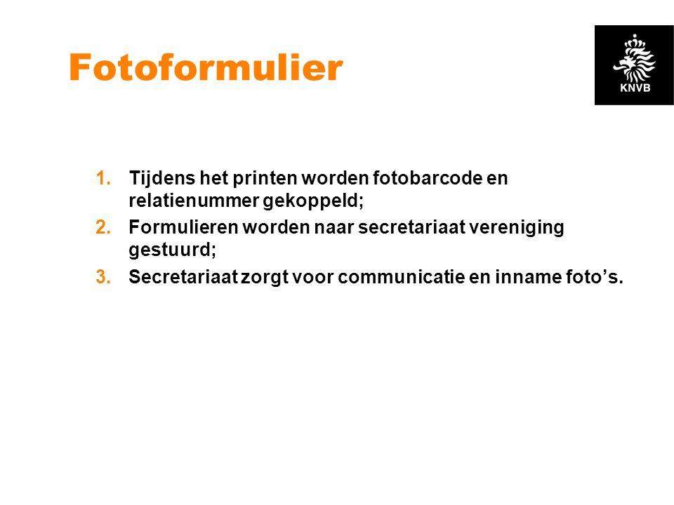 Fotoformulier Tijdens het printen worden fotobarcode en relatienummer gekoppeld; Formulieren worden naar secretariaat vereniging gestuurd;