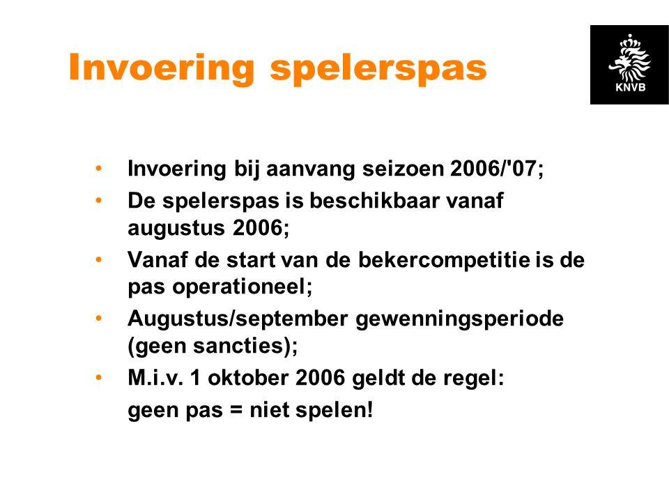 Invoering spelerspas Invoering bij aanvang seizoen 2006/ 07;