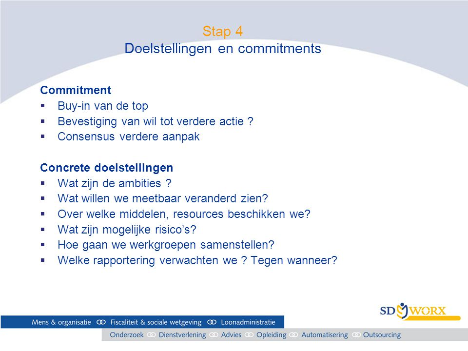 Stap 4 Doelstellingen en commitments