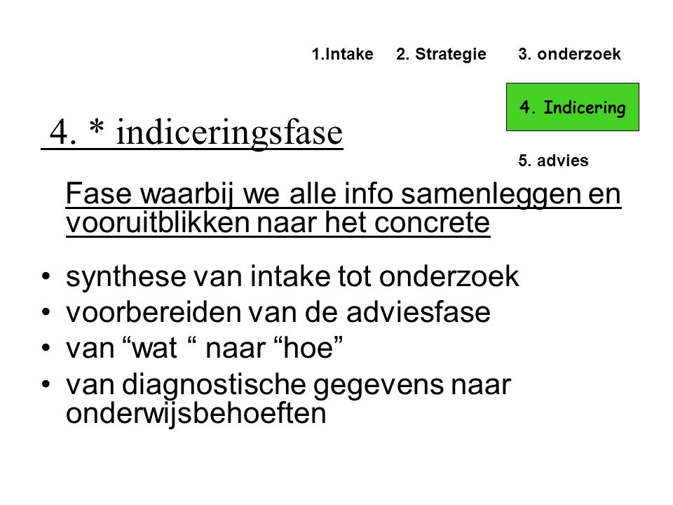 4. * indiceringsfase 1.Intake. 2. Strategie. 3. onderzoek. 4. Indicering. 5. advies.