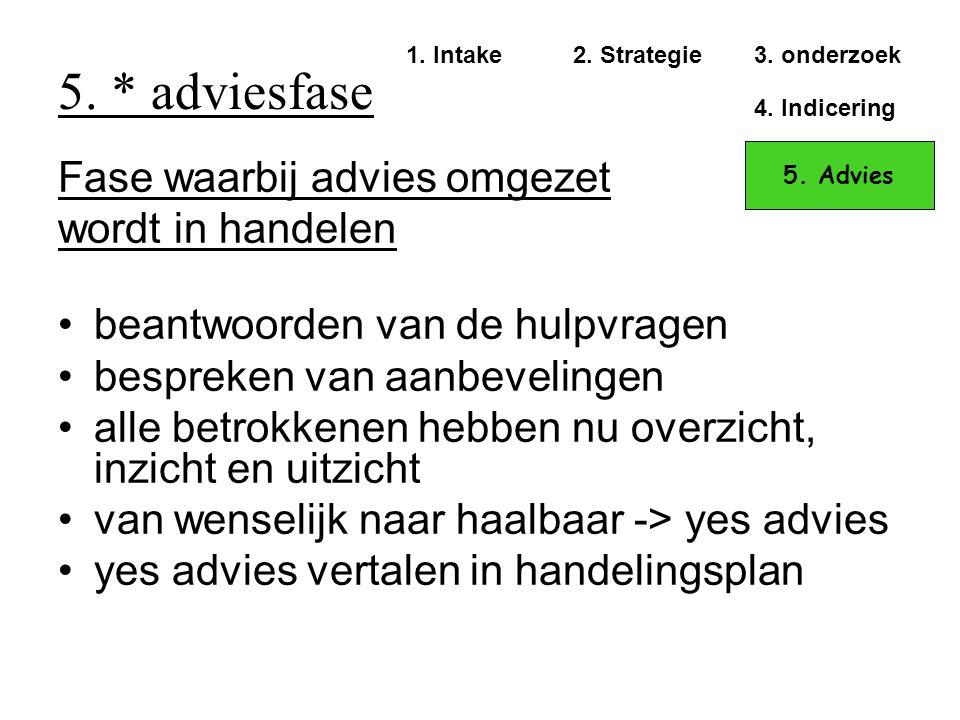 5. * adviesfase Fase waarbij advies omgezet wordt in handelen