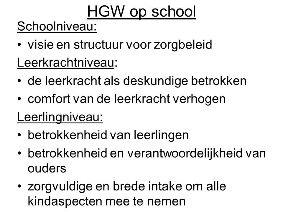 HGW op school Schoolniveau: visie en structuur voor zorgbeleid