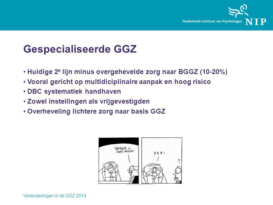 Gespecialiseerde GGZ Huidige 2e lijn minus overgehevelde zorg naar BGGZ (10-20%) Vooral gericht op multidiciplinaire aanpak en hoog risico.