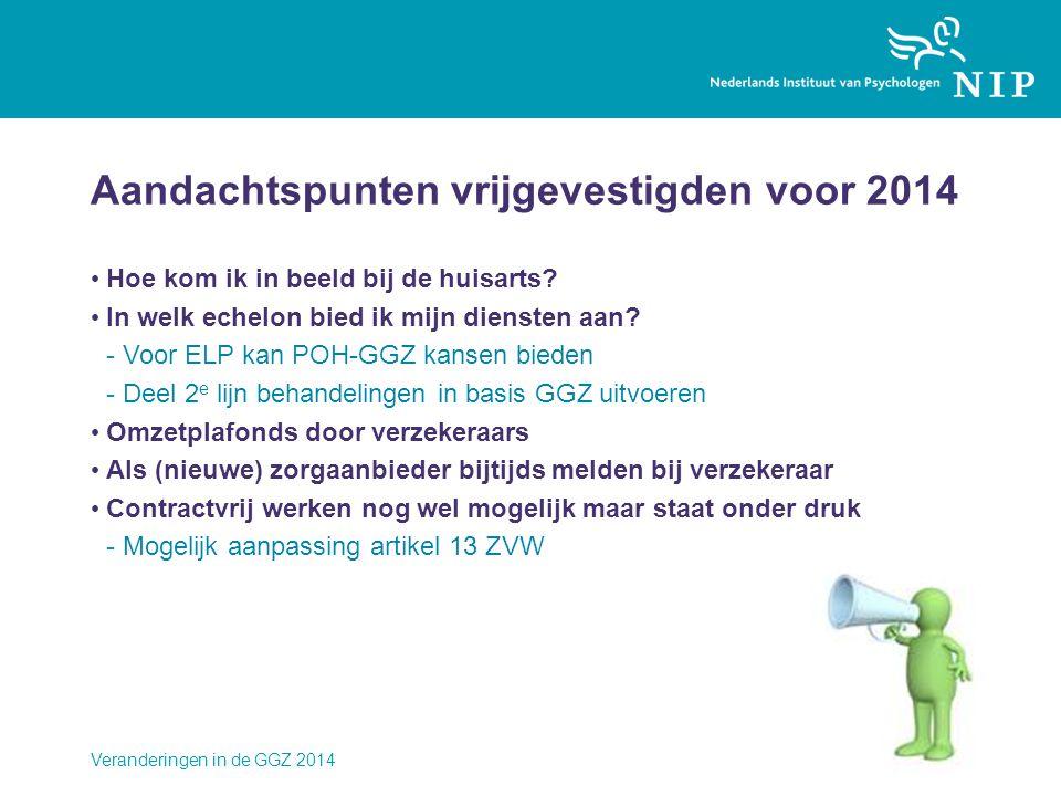 Aandachtspunten vrijgevestigden voor 2014