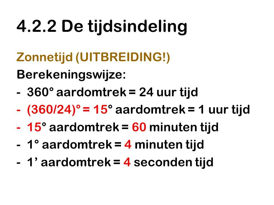 4.2.2 De tijdsindeling Zonnetijd (UITBREIDING!) Berekeningswijze: