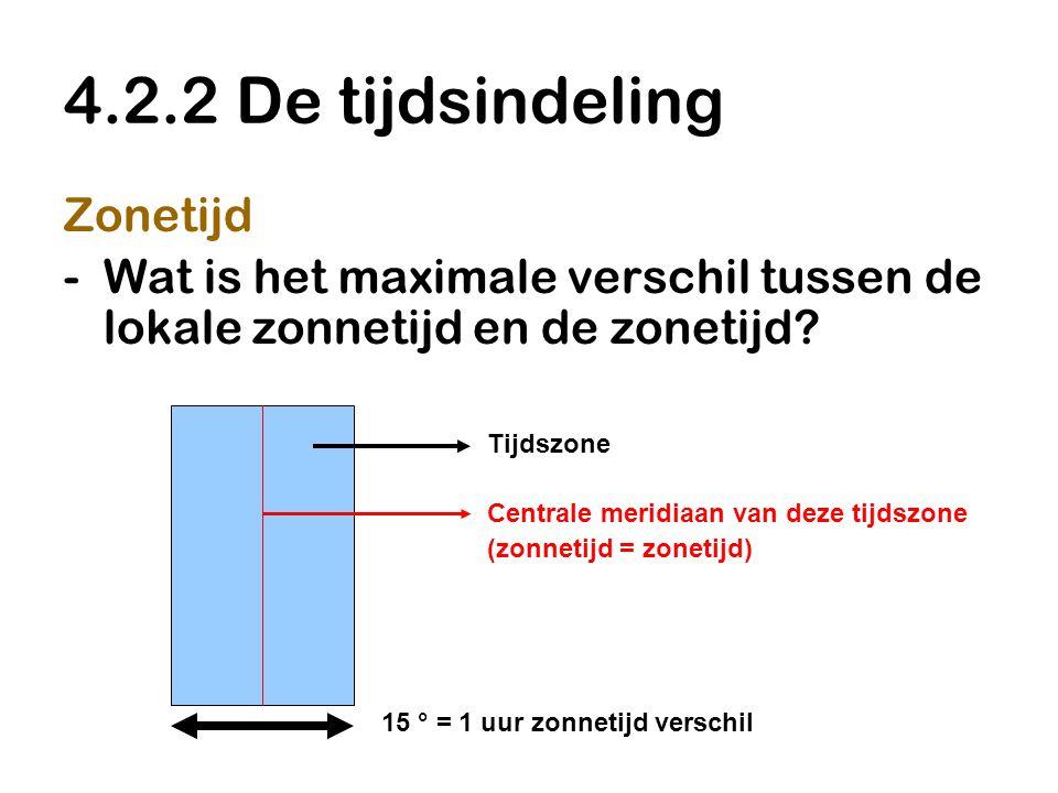 4.2.2 De tijdsindeling Zonetijd