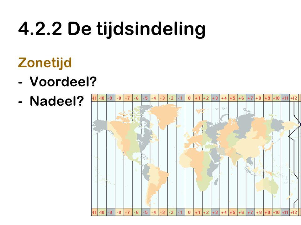 4.2.2 De tijdsindeling Zonetijd Voordeel Nadeel