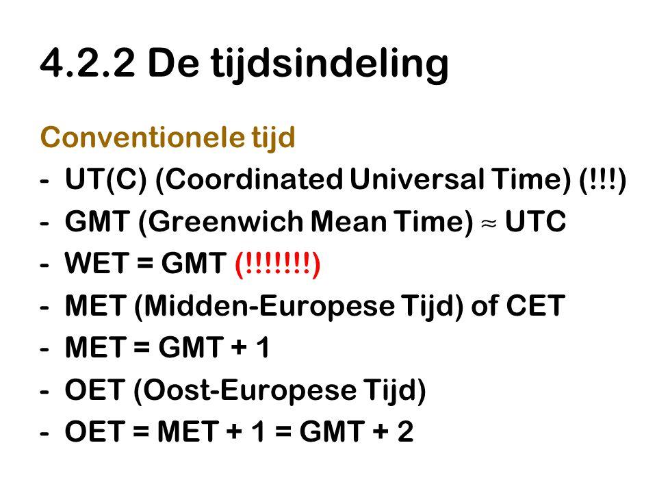 4.2.2 De tijdsindeling Conventionele tijd