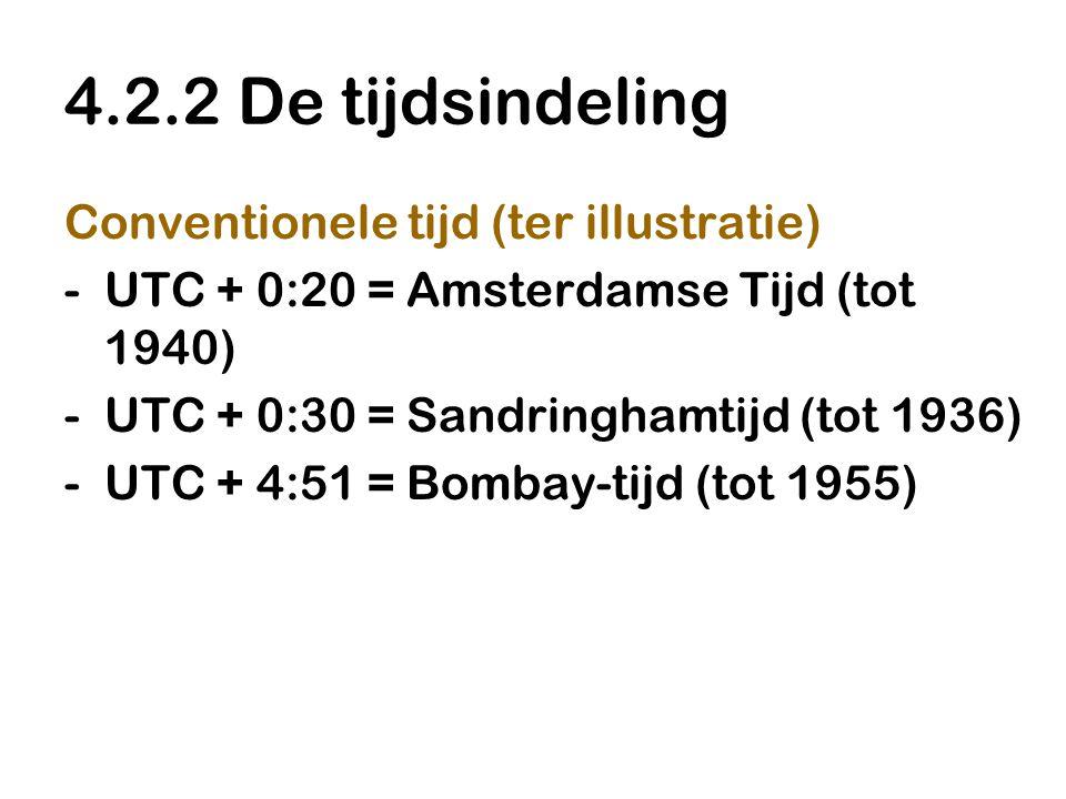 4.2.2 De tijdsindeling Conventionele tijd (ter illustratie)