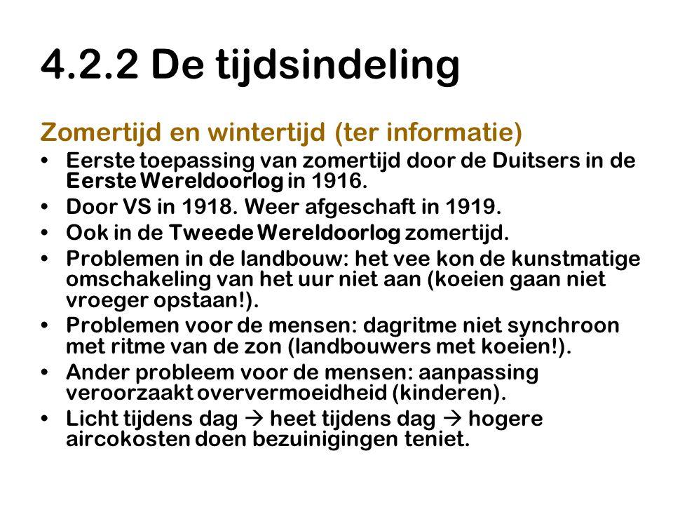 4.2.2 De tijdsindeling Zomertijd en wintertijd (ter informatie)