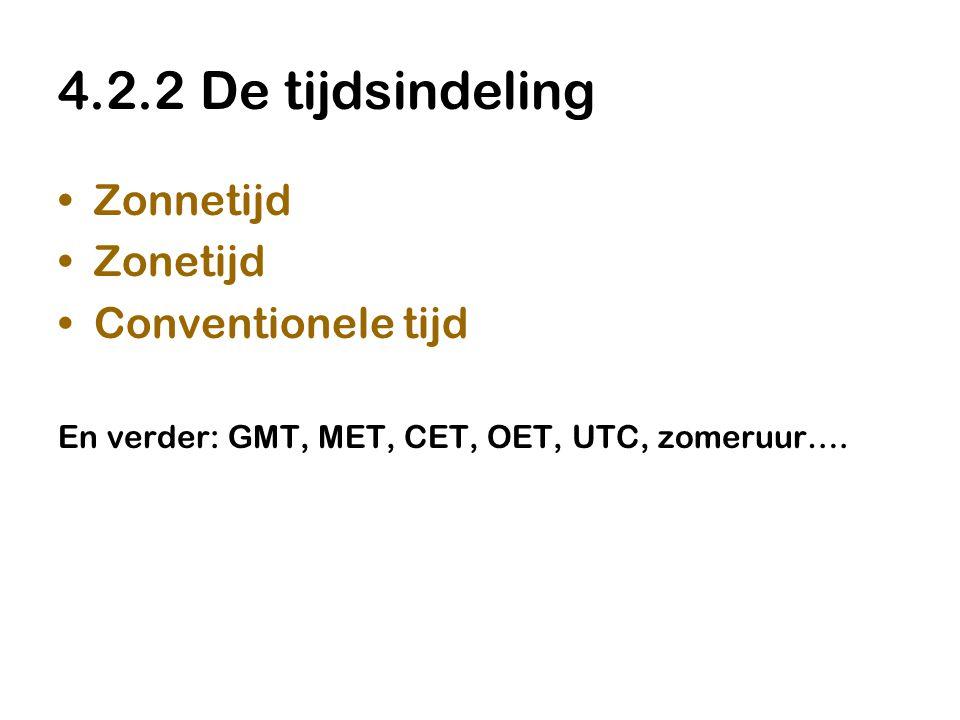 4.2.2 De tijdsindeling Zonnetijd Zonetijd Conventionele tijd