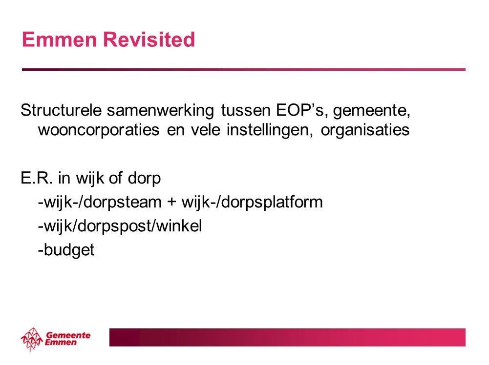 Emmen Revisited Structurele samenwerking tussen EOP's, gemeente, wooncorporaties en vele instellingen, organisaties.