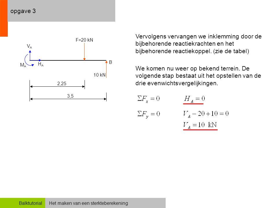 opgave 3 Vervolgens vervangen we inklemming door de bijbehorende reactiekrachten en het bijbehorende reactiekoppel. (zie de tabel)