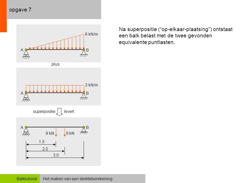 opgave 7 6 kN/m. A. B. Na superpositie ( op-elkaar-plaatsing ) ontstaat een balk belast met de twee gevonden equivalente puntlasten.