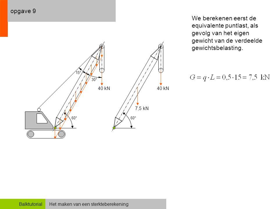 opgave 9 We berekenen eerst de equivalente puntlast, als gevolg van het eigen gewicht van de verdeelde gewichtsbelasting.