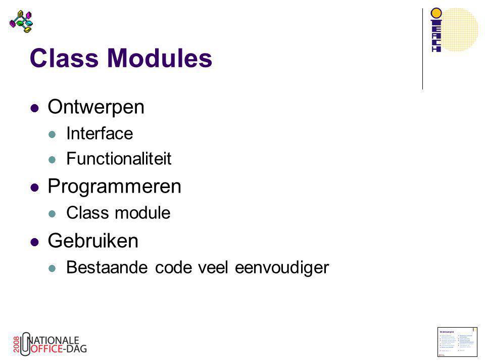 Class Modules Ontwerpen Programmeren Gebruiken Interface