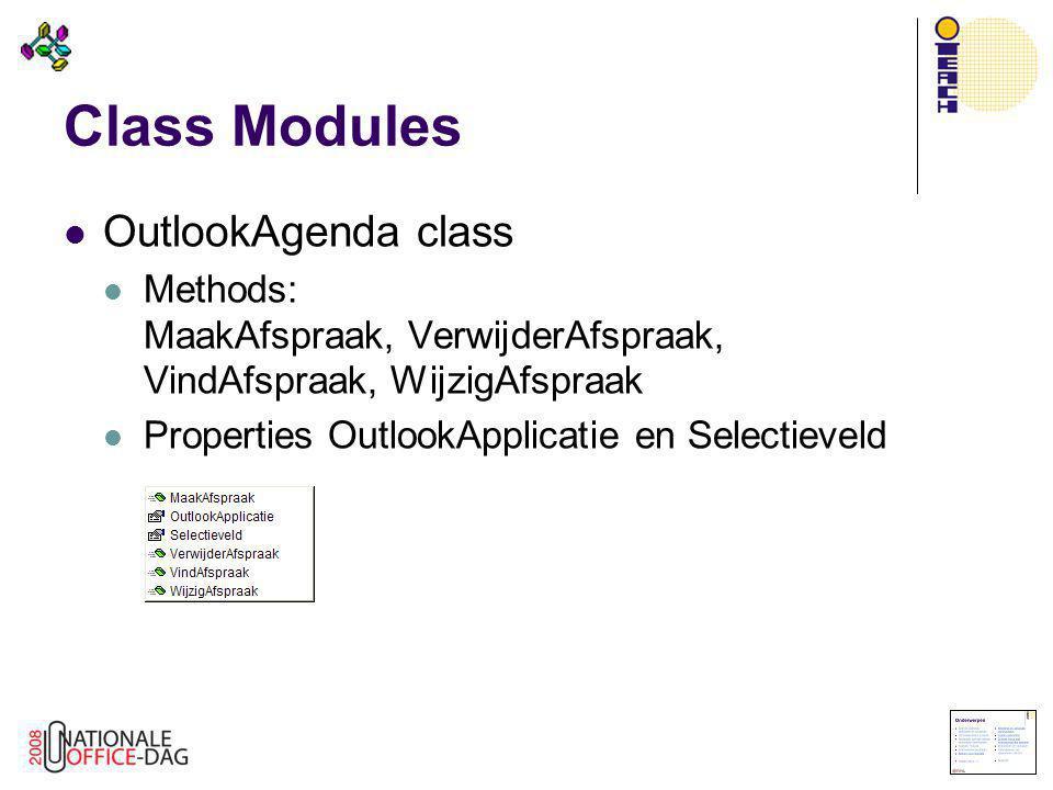 Class Modules OutlookAgenda class