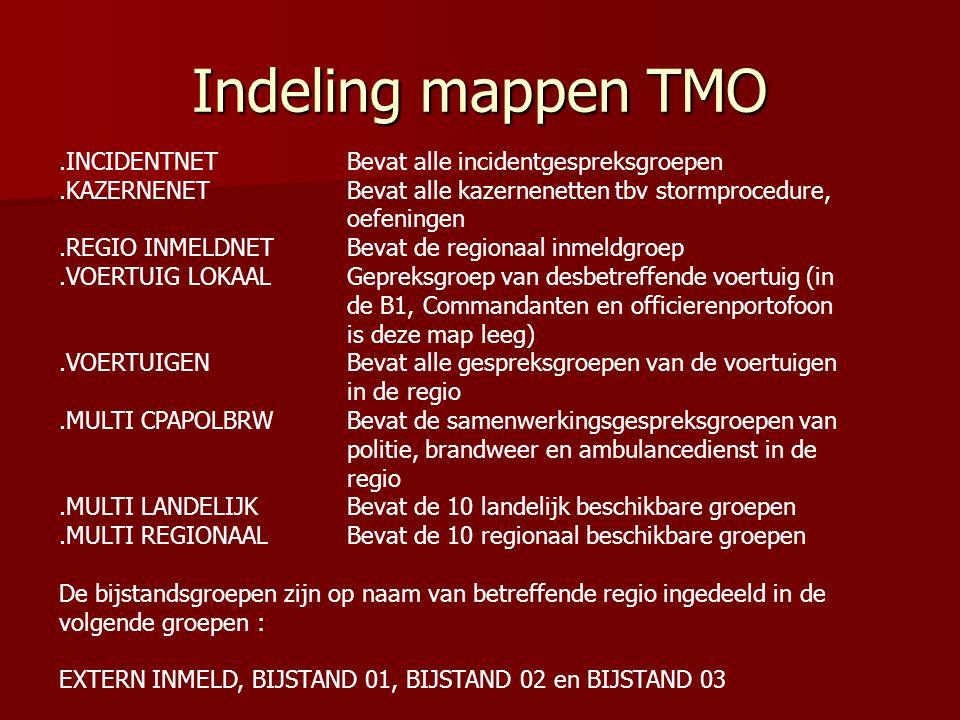 Indeling mappen TMO .INCIDENTNET Bevat alle incidentgespreksgroepen