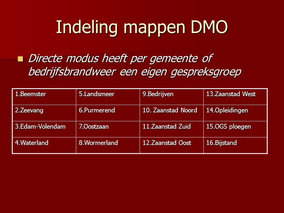 Indeling mappen DMO Directe modus heeft per gemeente of bedrijfsbrandweer een eigen gespreksgroep. 1.Beemster.