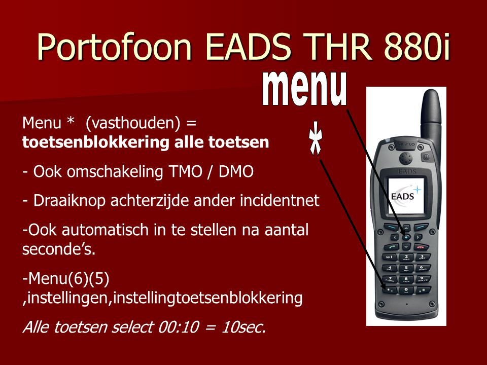Portofoon EADS THR 880i menu *