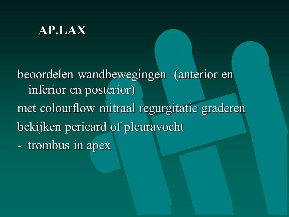 AP.LAX beoordelen wandbewegingen (anterior en inferior en posterior) met colourflow mitraal regurgitatie graderen.