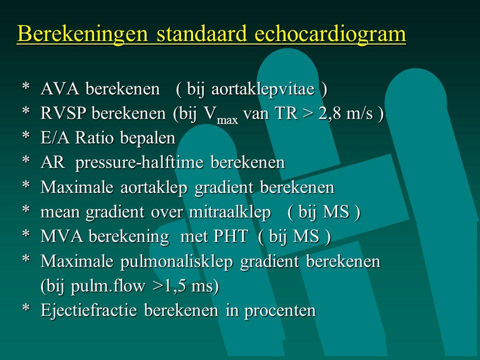 Berekeningen standaard echocardiogram
