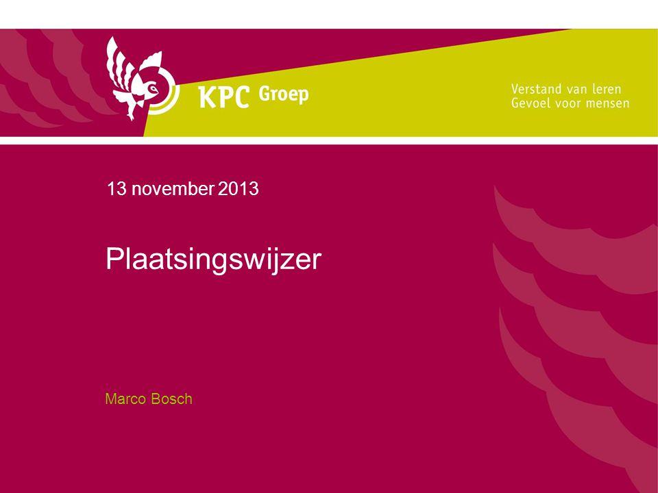 13 november 2013 Plaatsingswijzer Marco Bosch