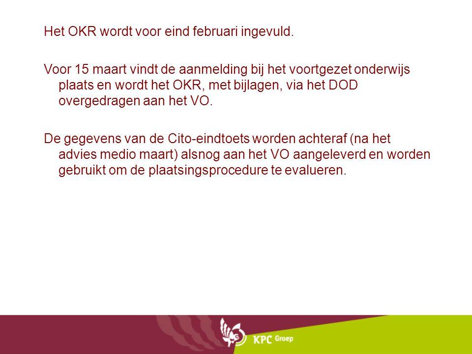 Het OKR wordt voor eind februari ingevuld