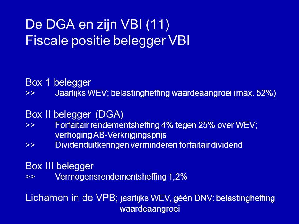 De DGA en zijn VBI (11) Fiscale positie belegger VBI