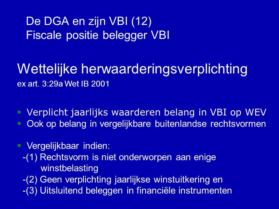 De DGA en zijn VBI (12) Fiscale positie belegger VBI