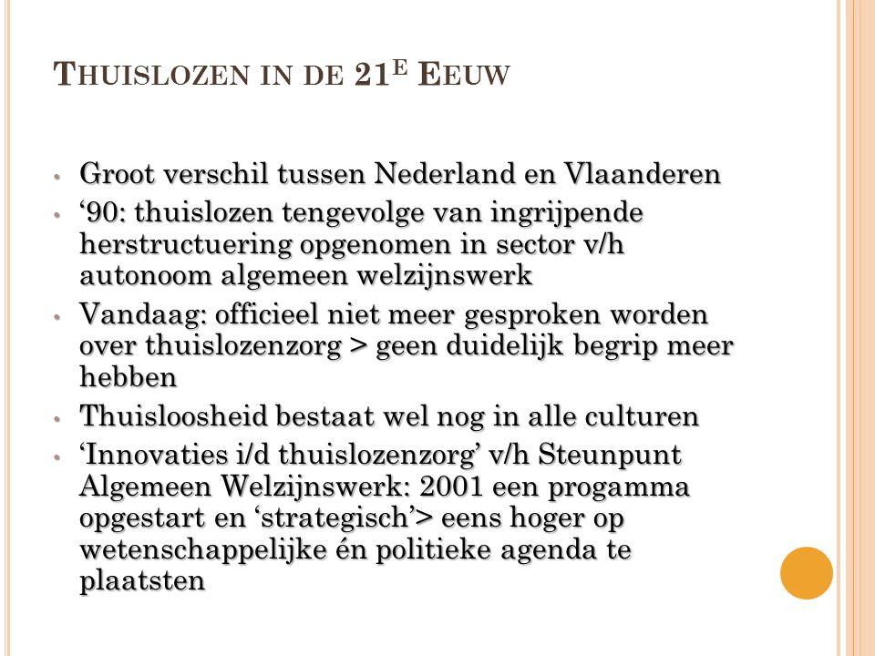 Thuislozen in de 21e Eeuw Groot verschil tussen Nederland en Vlaanderen.
