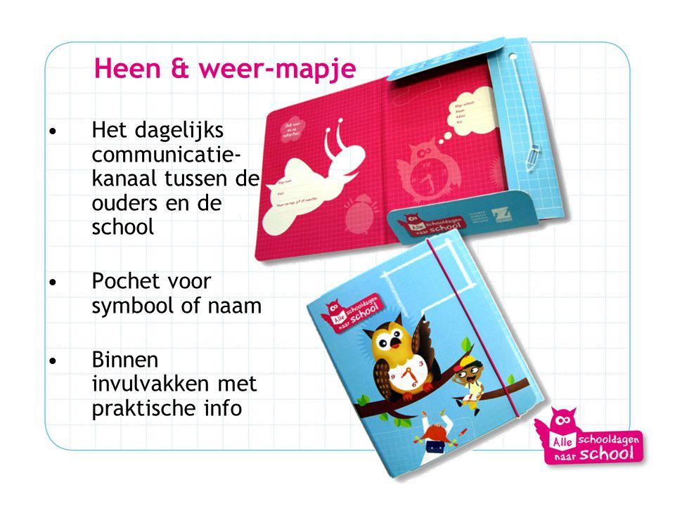 Heen & weer-mapje Het dagelijks communicatie-kanaal tussen de ouders en de school. Pochet voor symbool of naam.