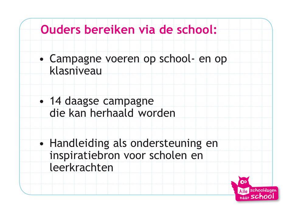 Ouders bereiken via de school:
