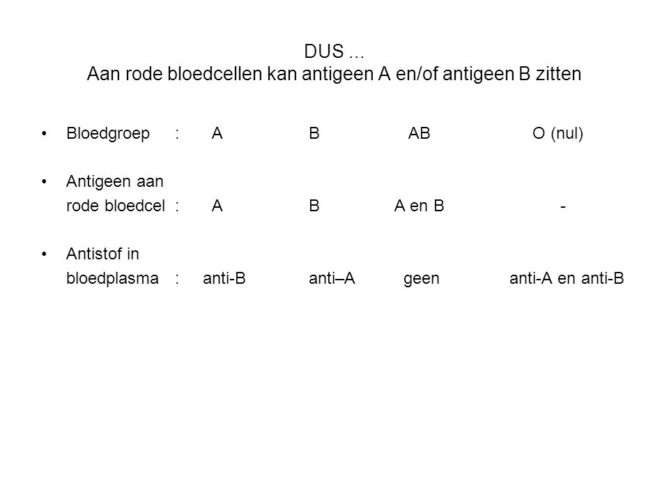 DUS ... Aan rode bloedcellen kan antigeen A en/of antigeen B zitten