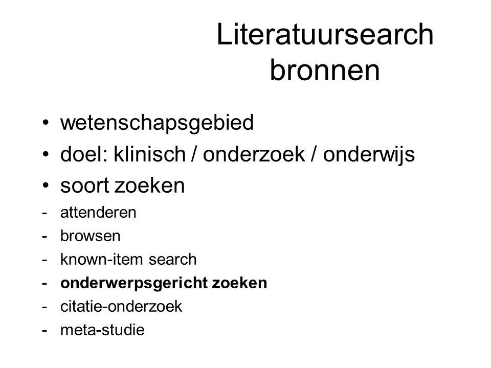 Literatuursearch bronnen