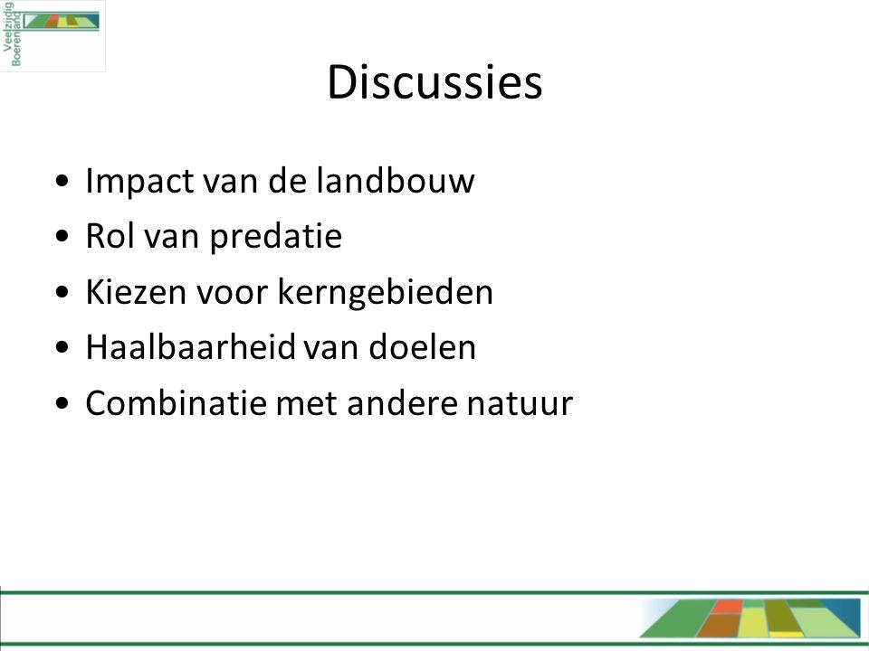 Discussies Impact van de landbouw Rol van predatie