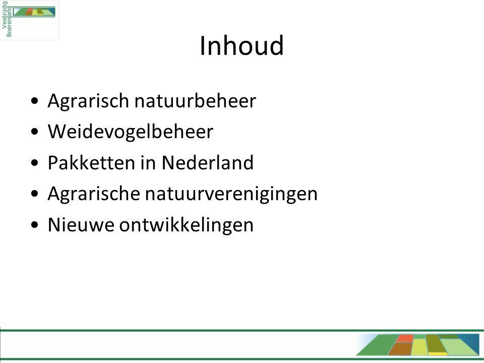 Inhoud Agrarisch natuurbeheer Weidevogelbeheer Pakketten in Nederland