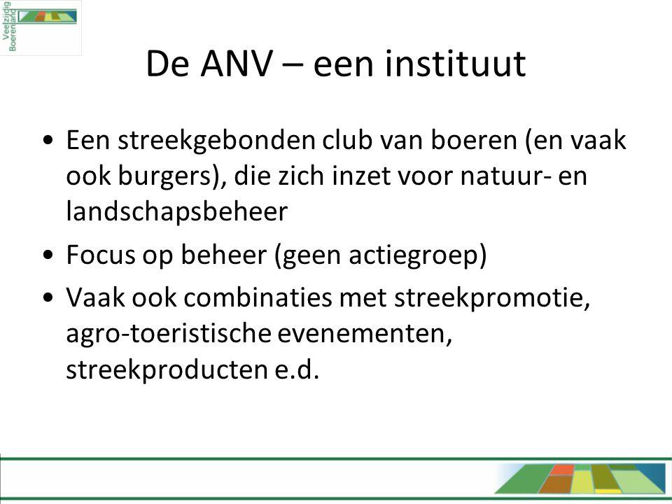 De ANV – een instituut Een streekgebonden club van boeren (en vaak ook burgers), die zich inzet voor natuur- en landschapsbeheer.
