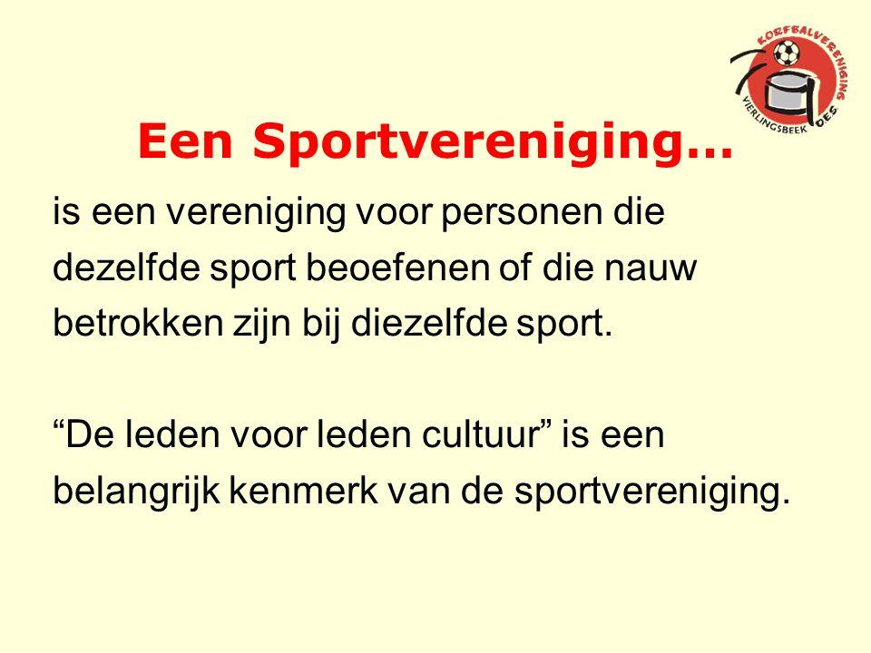 Een Sportvereniging… is een vereniging voor personen die