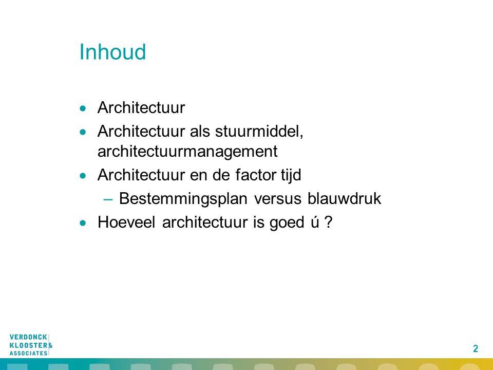 Inhoud Architectuur. Architectuur als stuurmiddel, architectuurmanagement. Architectuur en de factor tijd.