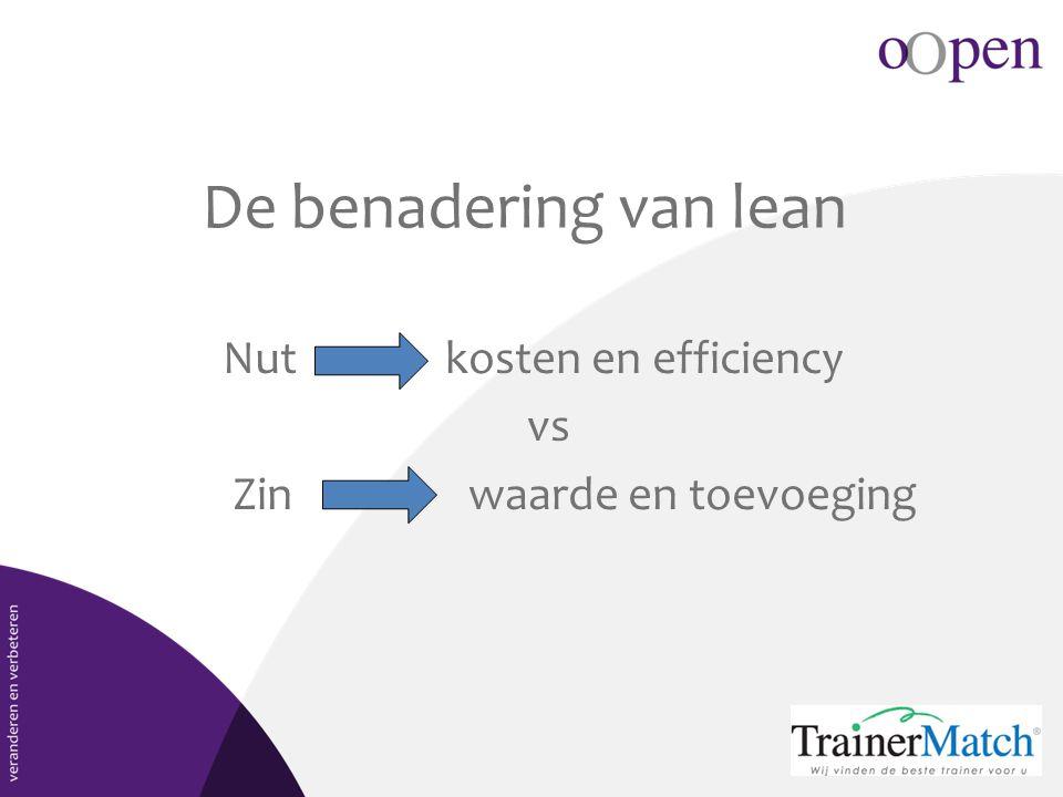 De benadering van lean Nut kosten en efficiency vs