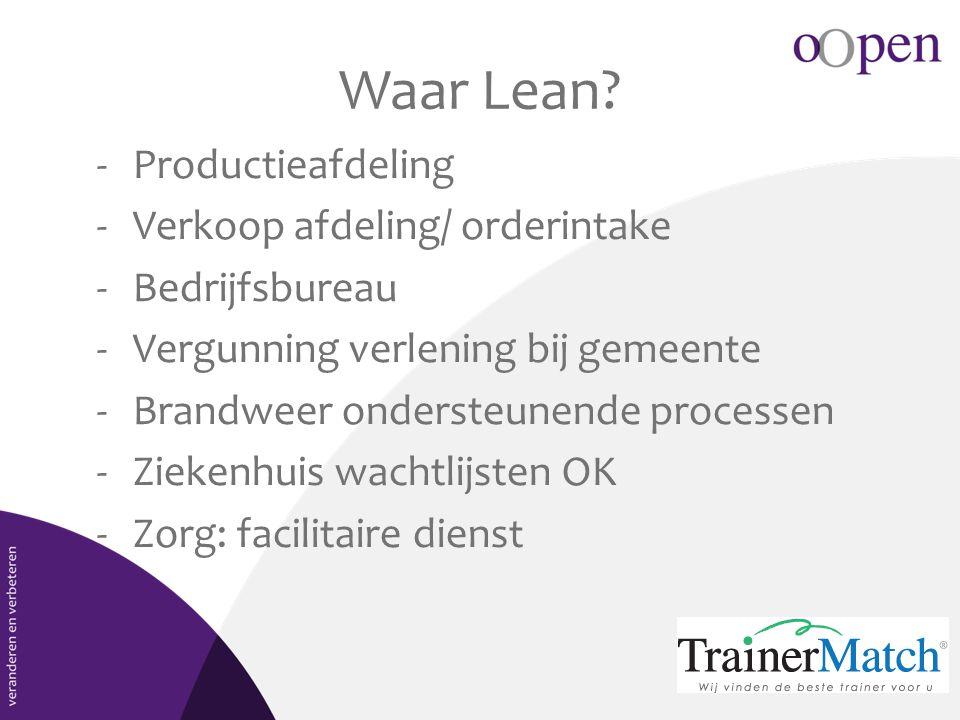 Waar Lean Productieafdeling Verkoop afdeling/ orderintake