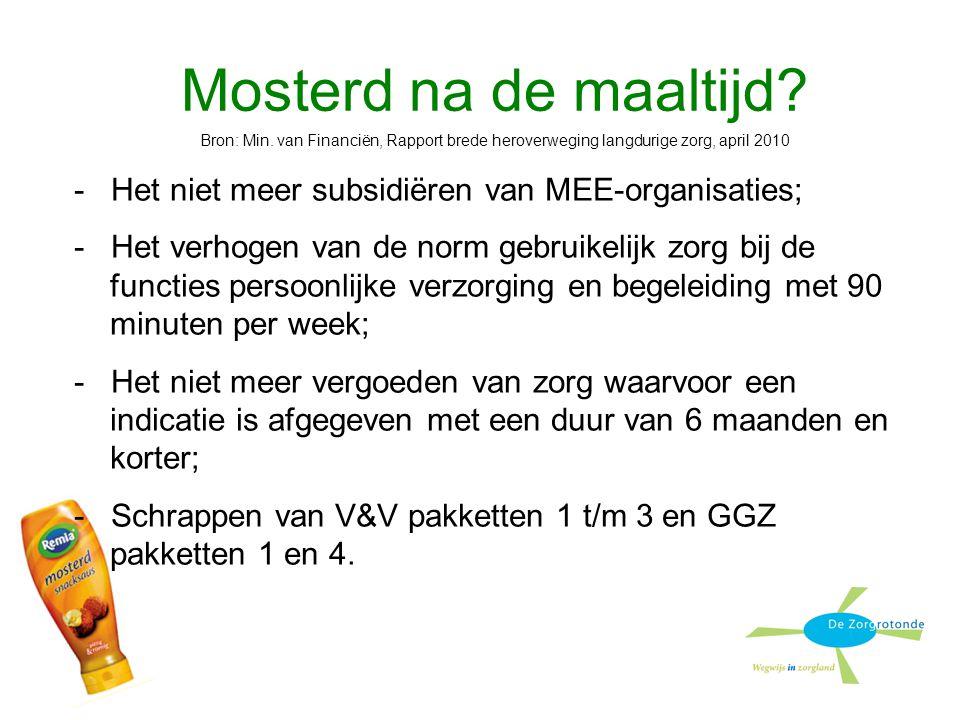 Mosterd na de maaltijd Bron: Min. van Financiën, Rapport brede heroverweging langdurige zorg, april 2010.