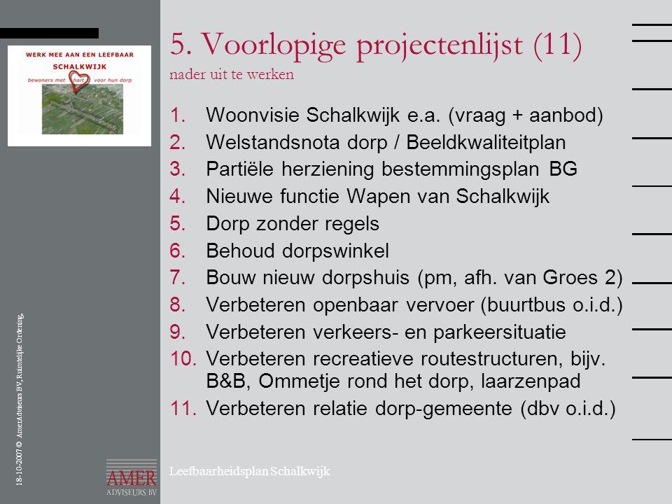 5. Voorlopige projectenlijst (11) nader uit te werken
