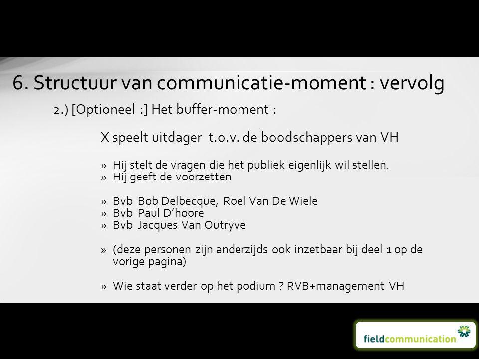6. Structuur van communicatie-moment : vervolg
