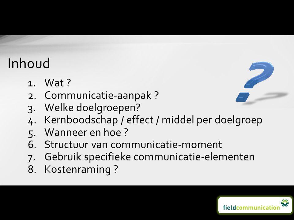 Inhoud Wat Communicatie-aanpak Welke doelgroepen
