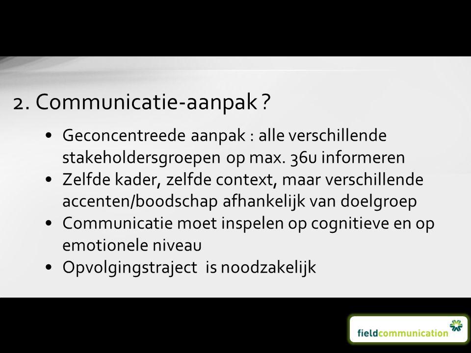 2. Communicatie-aanpak Geconcentreede aanpak : alle verschillende stakeholdersgroepen op max. 36u informeren.